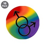 """Gay Pride Rainbow Love 3.5"""" Button (10 pack)"""