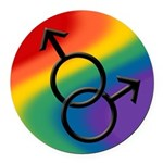 Gay Pride Rainbow Love Round Car Magnet