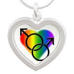 Gay Pride Rainbow Love Silver Heart Necklace