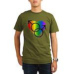 Gay Pride Rainbow Lov Organic Men's T-Shirt (dark)