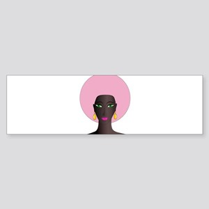 Woman with Pink Afro Sticker (Bumper)