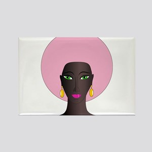 Woman with Pink Afro Rectangle Magnet