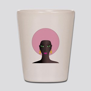 Woman with Pink Afro Shot Glass