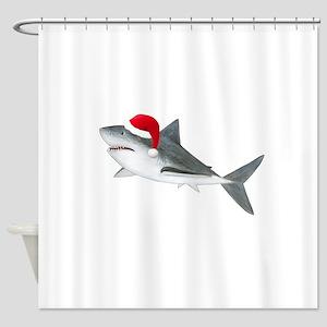 Christmas - Santa Shark Shower Curtain