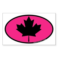 Black Maple Leaf pink Sticker (Rectangle 50 pk)