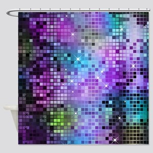 Disco Mirrors in Purple and Green Shower Curtain