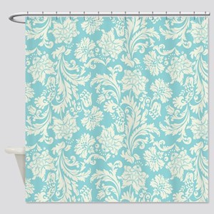 Turquoise and Cream Damask Shower Curtain