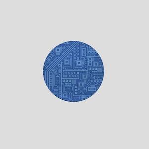 Blue Circuit Board Mini Button