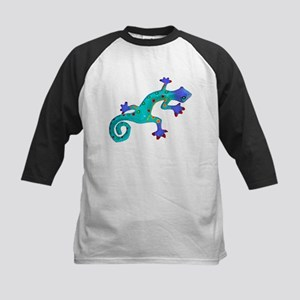Turquoise Lizard with Red Toes Kids Baseball Jerse