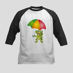 Frog Under Umbrella in the Rain Kids Baseball Jers