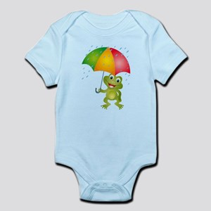 Frog Under Umbrella in the Rain Infant Bodysuit