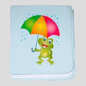 Frog Under Umbrella in the Rain baby blanket