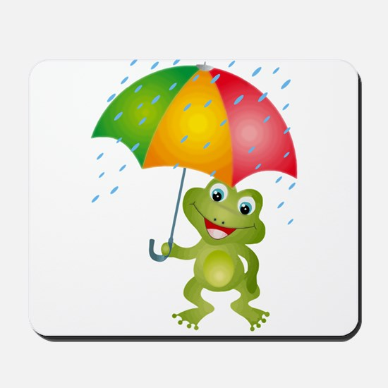 Frog Under Umbrella in the Rain Mousepad