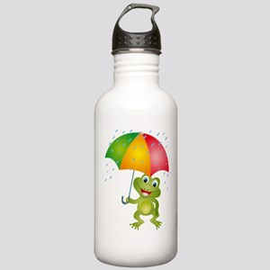 Frog Under Umbrella in the Rain Stainless Water Bo