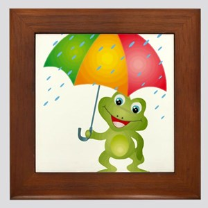 Frog Under Umbrella in the Rain Framed Tile