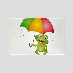 Frog Under Umbrella in the Rain Rectangle Magnet