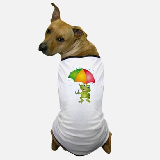 Frog Under Umbrella in the Rain Dog T-Shirt