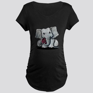 KiniArt Elephant Maternity Dark T-Shirt