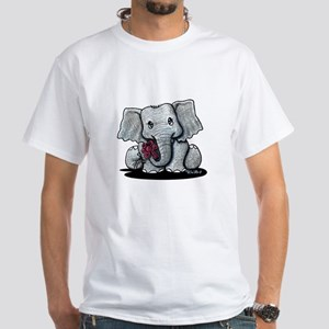 KiniArt Elephant White T-Shirt