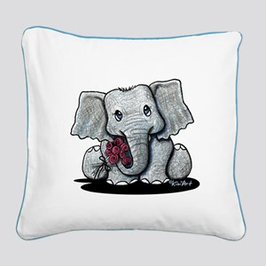 KiniArt Elephant Square Canvas Pillow