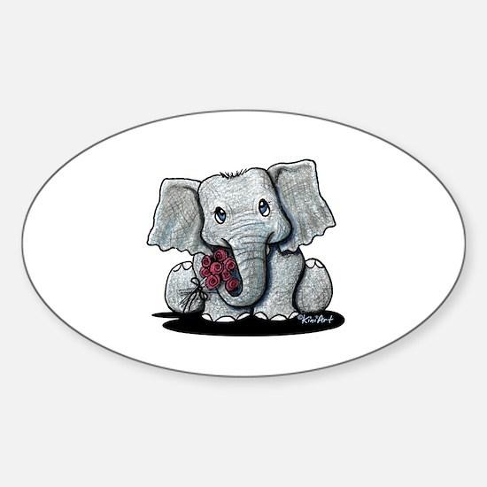 KiniArt Elephant Sticker (Oval 10 pk)