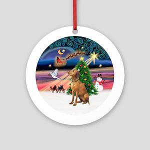 Xmas Magic & Vizsla Ornament (Round)