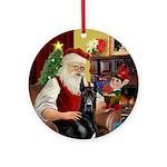 Santa's Black Great Dane Ornament (Round)