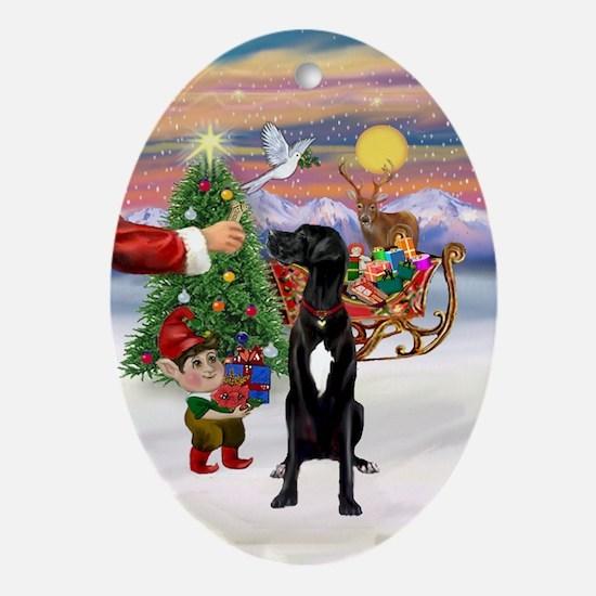 Santa's Treat for his Great Dane Oval Ornament
