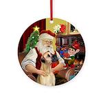 Santa's Fawn Great Dane (nat.) Ornament (Round)