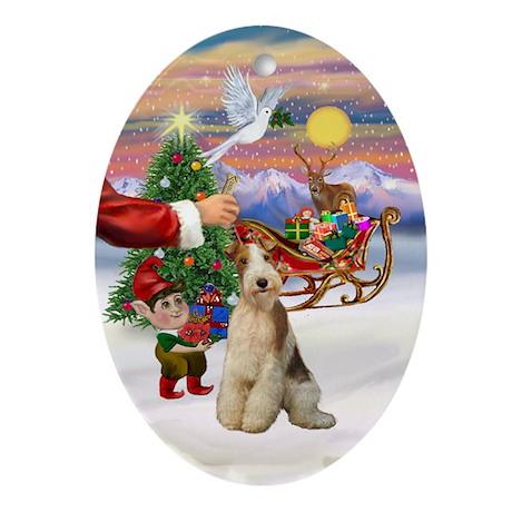 Santa's Treat for his Fox T (3) Oval Ornament