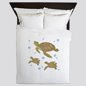 Sea Turtle Family Queen Duvet
