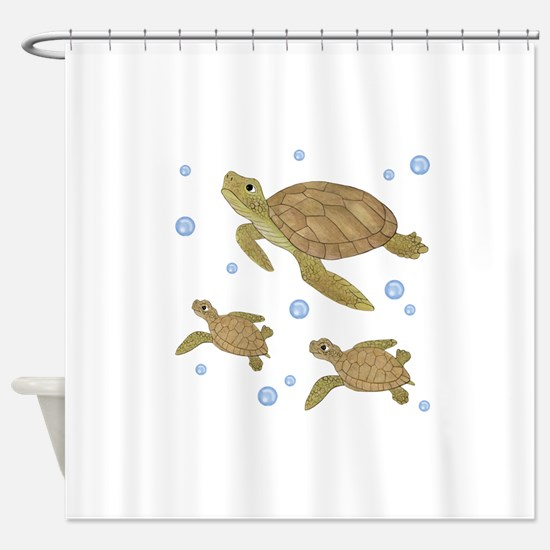 Sea Turtle Family Shower Curtain