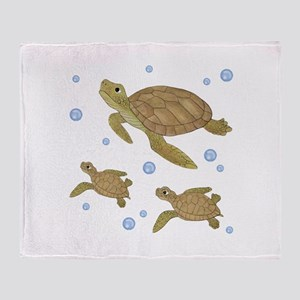 Sea Turtle Family Throw Blanket