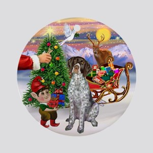 Santa's Treat for his Pointer Ornament (Round)