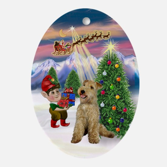 Santa's Take Off with a Lakeland T Oval Ornament