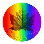 Gay Pride Canada Souvenir Round Car Magnet