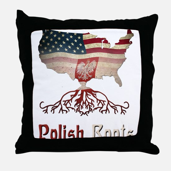 American Polish Roots Throw Pillow