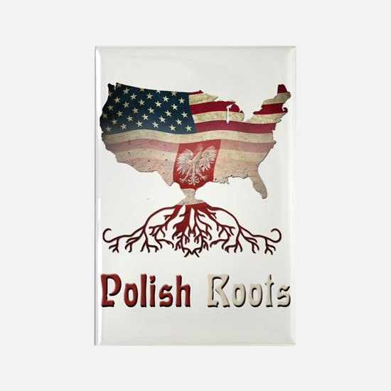 American Polish Roots Rectangle Magnet