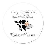 Black Sheep Round Car Magnet