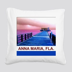 Pink and blue Rod & Reel Pier Square Canvas Pillow