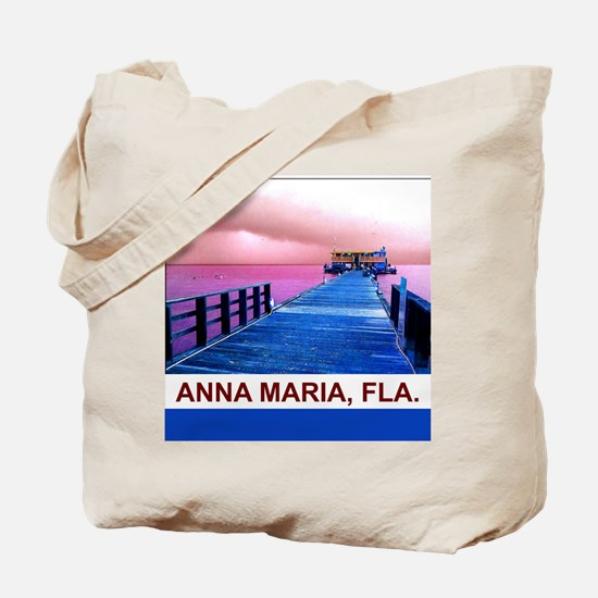 Pink and blue Rod & Reel Pier Tote Bag