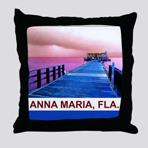 Pink and blue Rod & Reel Pier Throw Pillow