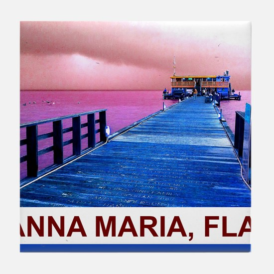 Pink and blue Rod & Reel Pier Tile Coaster
