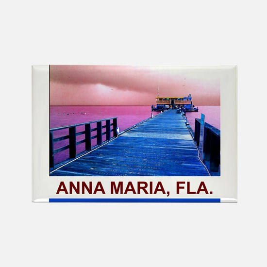 Pink and blue Rod & Reel Pier Rectangle Magnet