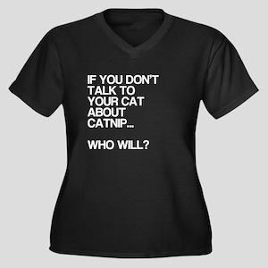 Funny, Catnip, Women's Plus Size V-Neck Dark T-Shi