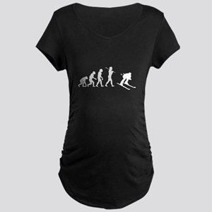 Evolved To Ski Maternity Dark T-Shirt