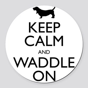 Keep Calm and Waddle On Round Car Magnet