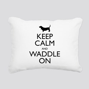 Keep Calm and Waddle On Rectangular Canvas Pillow