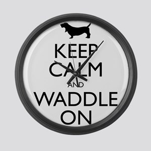 Keep Calm and Waddle On Large Wall Clock