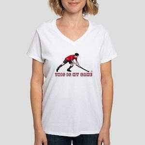 hockey player Women's V-Neck T-Shirt